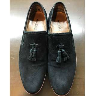 Aldo Black Suede Loafers with Tassel