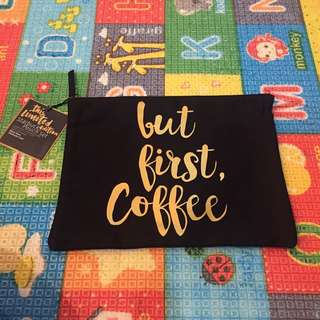 """Starbucks Black """"But First Coffee"""" pouch"""