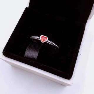 PANDORA金红的心925银合成红宝石戒指