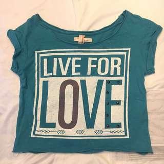 "Bershka Loose Crop Top ""Live for Love"""