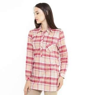 Kemeja kotak kotak Combination Shirt Pink Mobile Power Ladies - MPL272