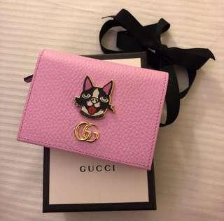 Gucci 狗裝飾銀包 粉紅色