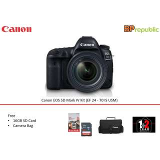 Canon EOS 5D Mark IV Kit (EF 24 - 70 IS USM). 1+2 years Canon Marketing Malaysia. PROMO till 1th May 2018