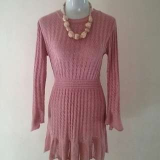 old rose knitted dress (small - medium)