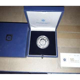Malaysia 50th Anniversary Bank Negara Malaysia Silver Proof Coin No.339