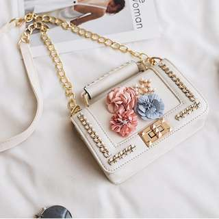 Crossbody Bag with Chain & Flower Detail