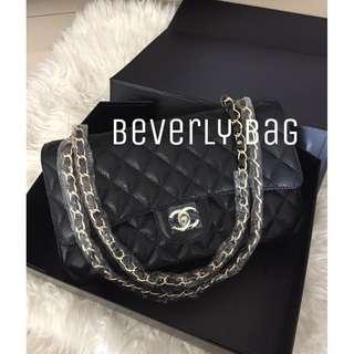 jual tas Chanel Classic Caviar LEATHER MIRROR - black GHW