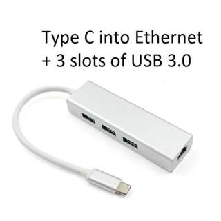 USB Type C Multi function Adapter (Ethernet LAN + 3 ports of USB 3.0)