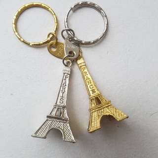 Gold and Silver Eiffel Tower Keychain