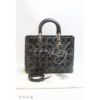CHRISTIAN DIOR Lady Dior 黑色皮革 (大號) 手挽袋 肩背袋 手袋