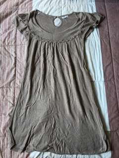 Topshop Light Brown Dainty Dress with Flowers