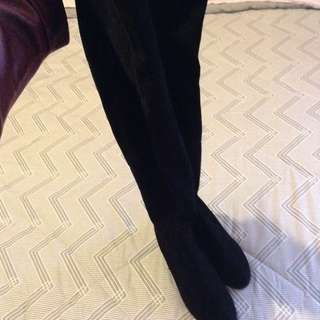 New women's black thigh high boots size 8