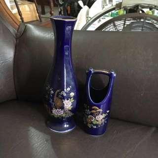 Vas Bunga Keramik dan Tempat Tisue Biru Brand Eiho