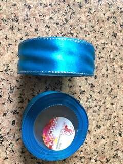 Satin ribbon ( greenish/bluish) x3