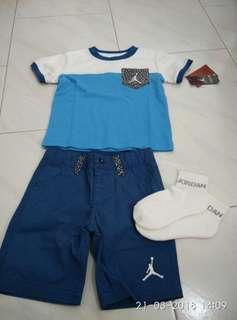 Jordan kid 2T blue white cement set shirt shorts socks