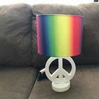 White Peace Sign Table Lamp with Rainbow Drum Shade