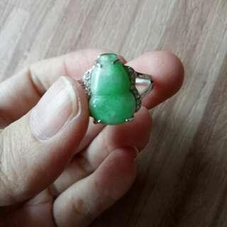 天然翡翠A貨陽綠葫蘆戒指