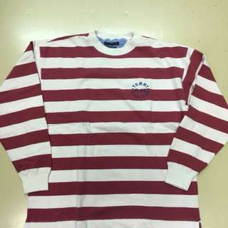 TOMMY HILFIGER 紅白條紋長袖上衣 vintage 老品