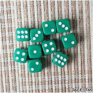 10PCS D6 DICE SET (12mm) - GREEN