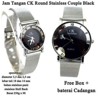 Grosir jam tangan Couple ck Stainless pasir round black