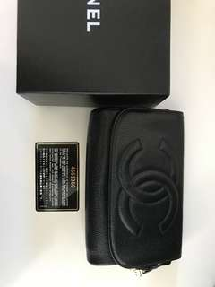 Vintage Chanel makeup bag with mirror and zipper