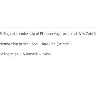 Platinum yoga membership selling out