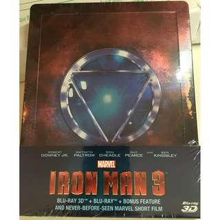 Marvel Iron Man 3 Blu-ray 3D + Bluray (2-discs) + bonus feature (brand new, never opened)