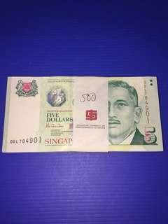 Singapore Portrait Paper BOCC $5 Prefix 0BL No.784901-785000 (100pcs) Stack UNC