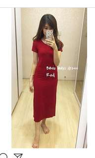 basic maxi dress in red