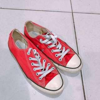 Converse 紅色 帆布鞋 25公分