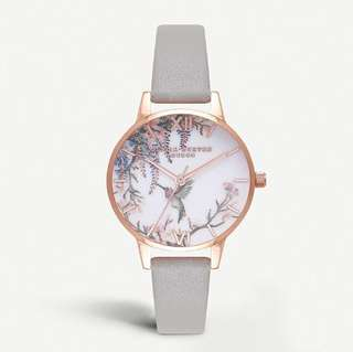Olivia Burton Painterly Floral-Print Gold-Plated Watch
