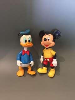 1970年代 Disney 正版古董米奇+唐老鴨 Made in Hongkong $480/1對 1對出售 14cm高 $480