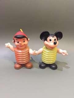 1970年代 Disney 正版古董米奇+木偶 Made in Hongkong $480/1對 1對出售 10cm高 $480