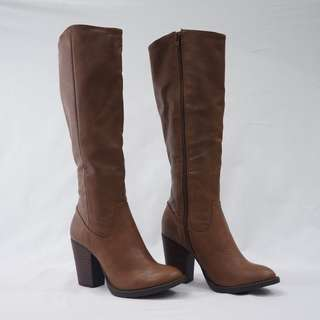 Spurr Mid-Calf Tan Brown Heeled Boots Western Style