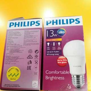 飛利浦LED 慳電膽 E27 13W 3000k 暖黃光