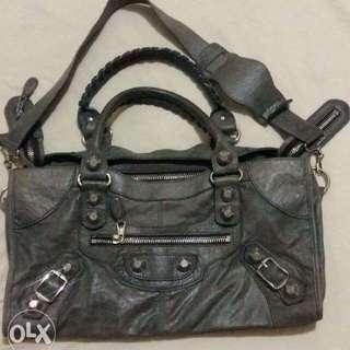 Balenciaga Grey Lambskin Leather Giant Part Time Satchel Bag