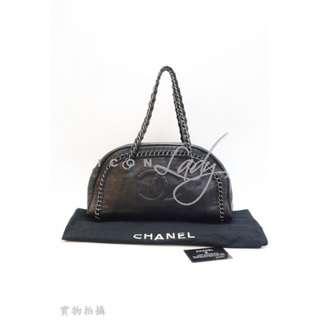 CHANEL 黑色皮革 車線 CC Logo 半月形 肩揹袋 手袋