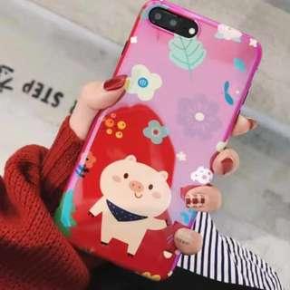 手機殼IPhone6/7/8/plus(沒有X) : 可愛小豬紅底藍包全包黑邊軟殼