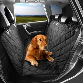 Pet Seat Cover, Dog Hammock, Waterproof Dog Car Seat Cover Protector with Non Slip Silicone Backing for Cars, Trucks, SUVs with Non Slip Backing, Soft, Large, Black