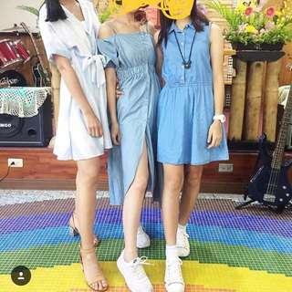藍色開叉洋裝