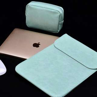 Mint PU Leather Macbook Laptop Sleeve with Extra Pocket + Matching Pouch