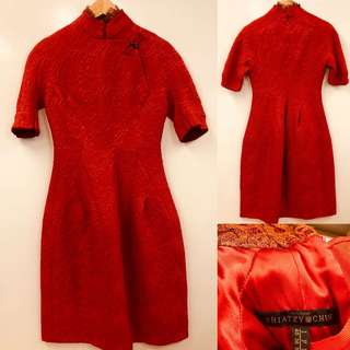 紅色旗袍 Shiatzy chen red with lace and jade beads dress size F38