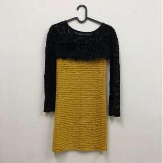 🚚 復古歌舞廳辣妹 毛毛 針織洞洞 緊身洋裝 黃色 黑色 二手 古著