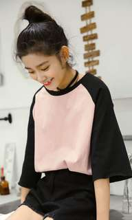 Pink with black sleeve