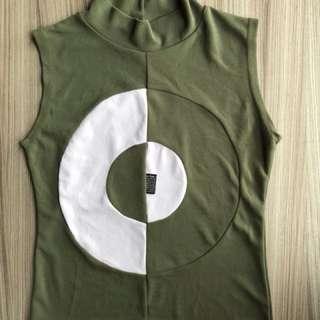 綠色背心(S~M適穿) 長䄂 短袖 長版T恤 毛料 毛衣 針織 洋裝