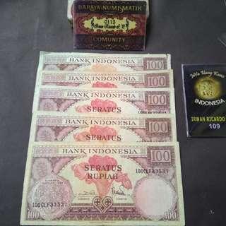 Uang kuno / Uang lama 100 rupiah seri bunga