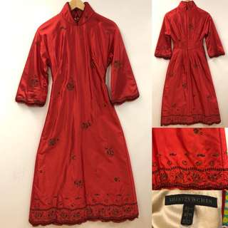 Shiatzy Chen red with emborderies chinese style dress size F38