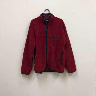PATAGONIA類似款式 保暖層 登山露營 刷毛 長袖上衣 復古紅色 二手 古著
