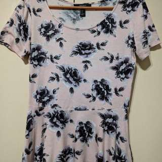 Forever 21 Floral Cropped Peplum Top