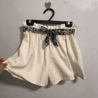 全新白色寬口褲